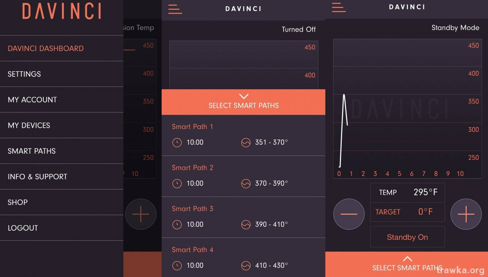 Davinci IQ Vaporizer Smartphone App Screenshots