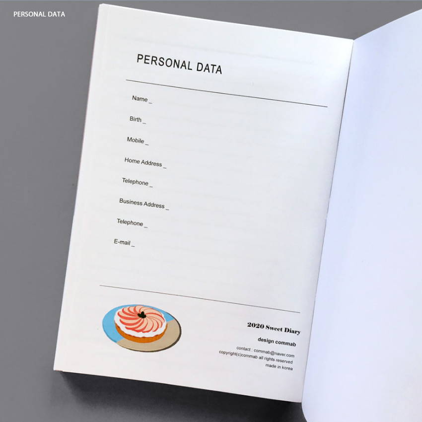 Personal data - Design Comma-B 2020 Sweet dessert dated weekly diary planner