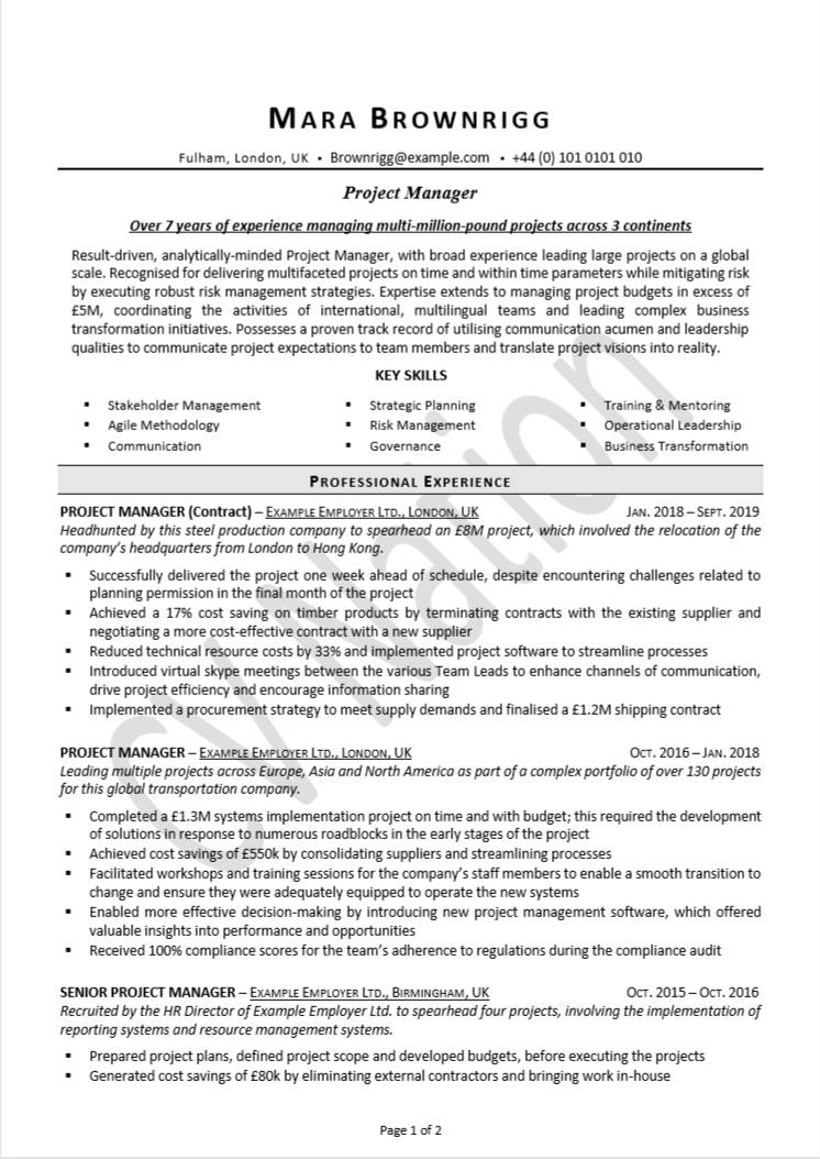 Project Manager Cv Example Illustrated Cv Writing Guide Cv Nation