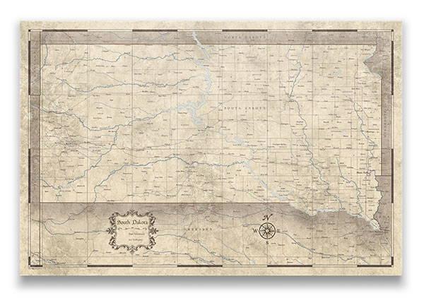 South Dakota Push pin travel map rustic vintage