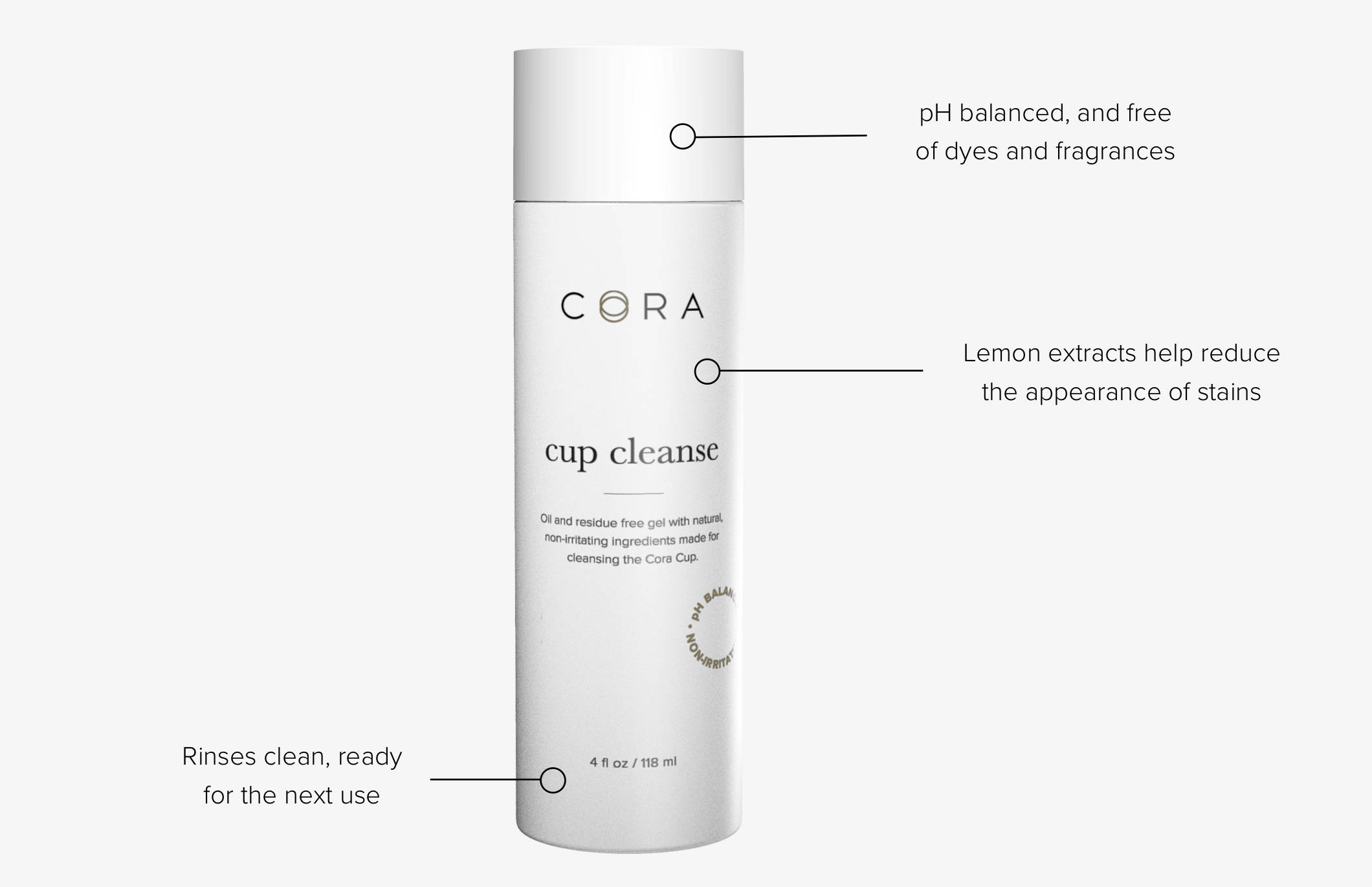 A bottle of Cora's menstrual cup cleanse surrounded by descriptions of its features and ingredients.