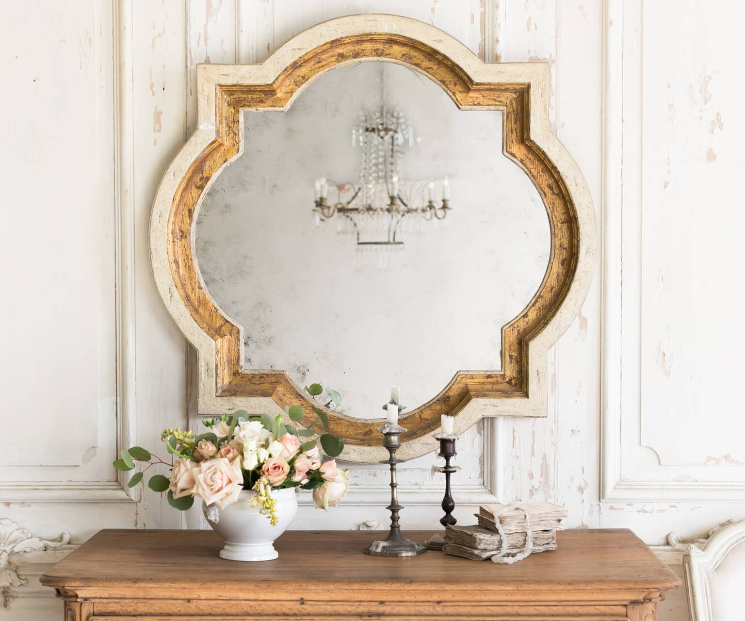 Eloquence® Lyon Mirror in Toasted Almond and Gold Finish