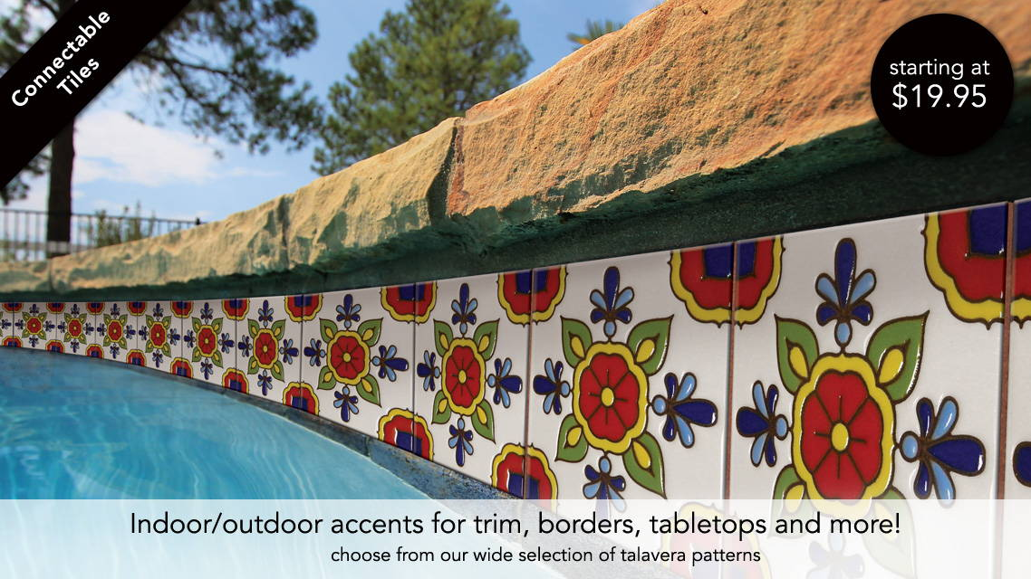 Indoor our Outdoor Talavera Pattern Tiles - Accent Trim, Borders, Tabletops and more!