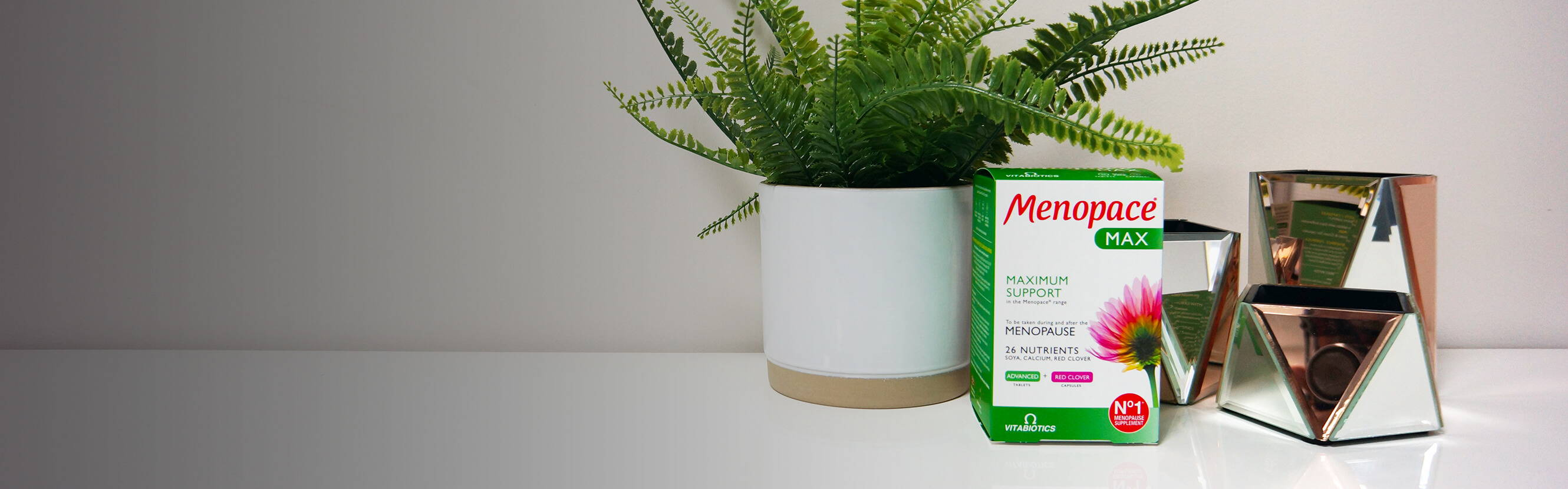 The menopause shouldn't mean you have to slow down. Menopace Max provides 26 nutrients including vitamin and mineral tablets with Calcium, which contributes to the maintenance of normal bones. It also includes Red Clover and Green Tea capsules.