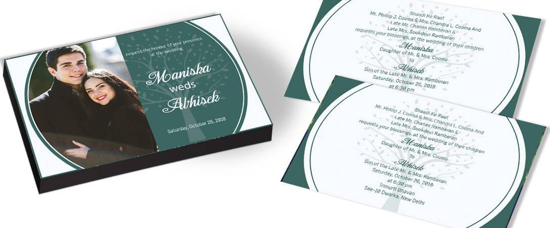 Photo framed Wedding invitation with Tree theme