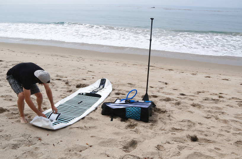 This is the best inflatable paddle board from Pau Hana.Big Ez Air on the beach