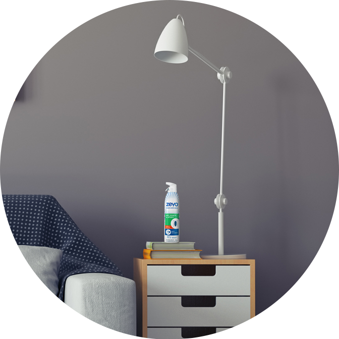 Zevo insect spray on night stand