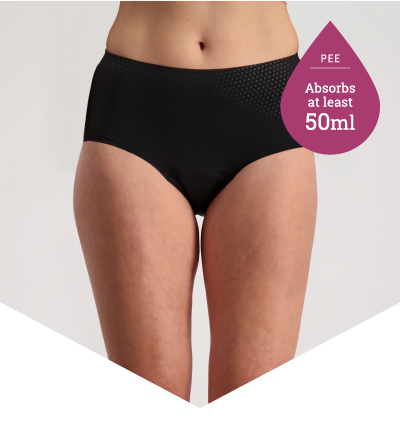 Incontinence Underwear for Light to Moderate Bladder Leakage - Full Brief Extra Black - Just'nCase by Confitex