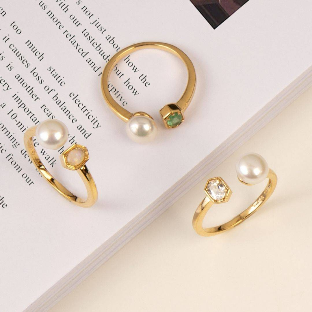 Modern Pearl Gold Plated Rings