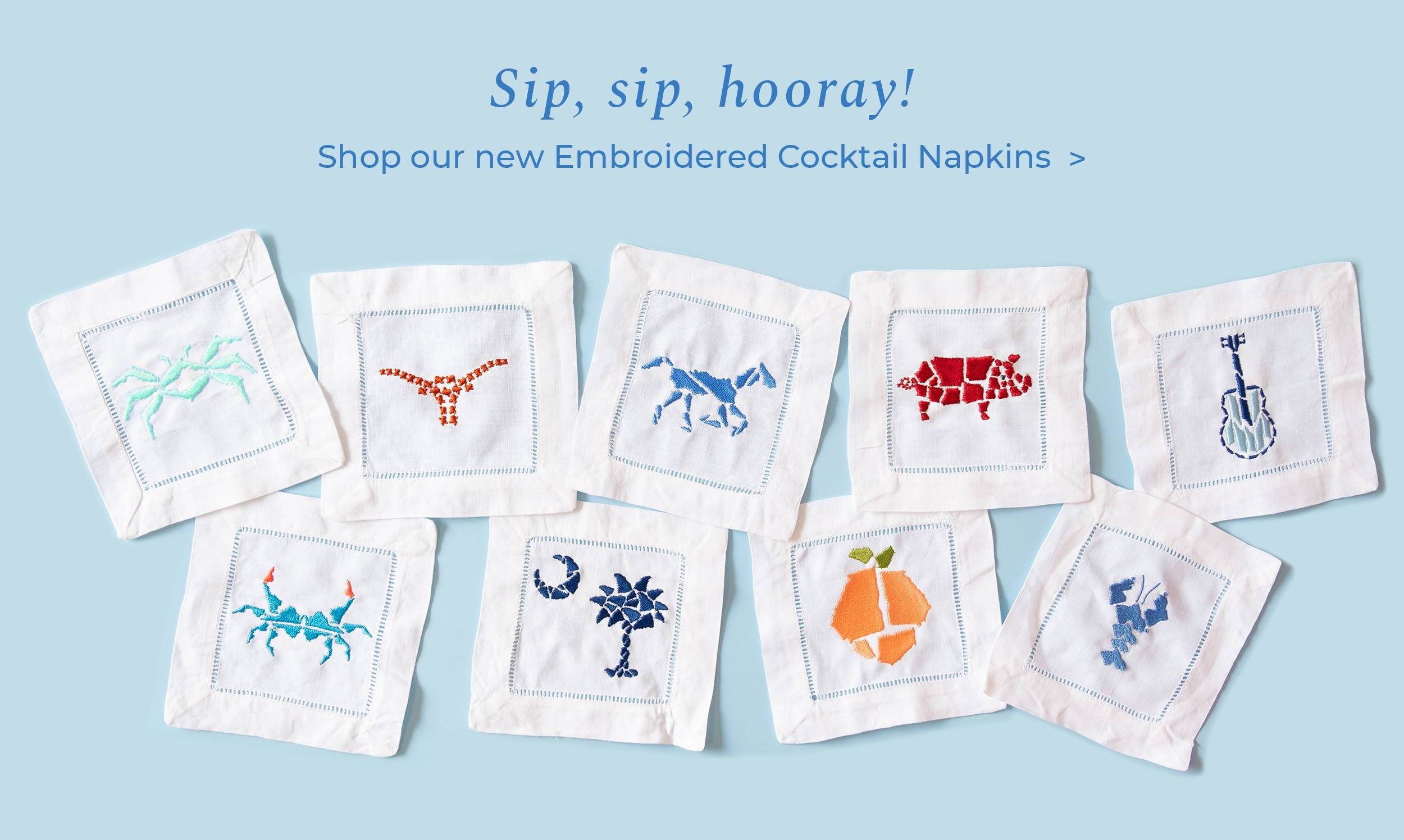New Embroidered Cocktail Napkins!