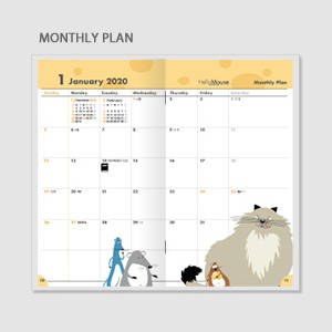Monthly plan - Chachap 2020 Hello mouse dated monthly planner scheduler