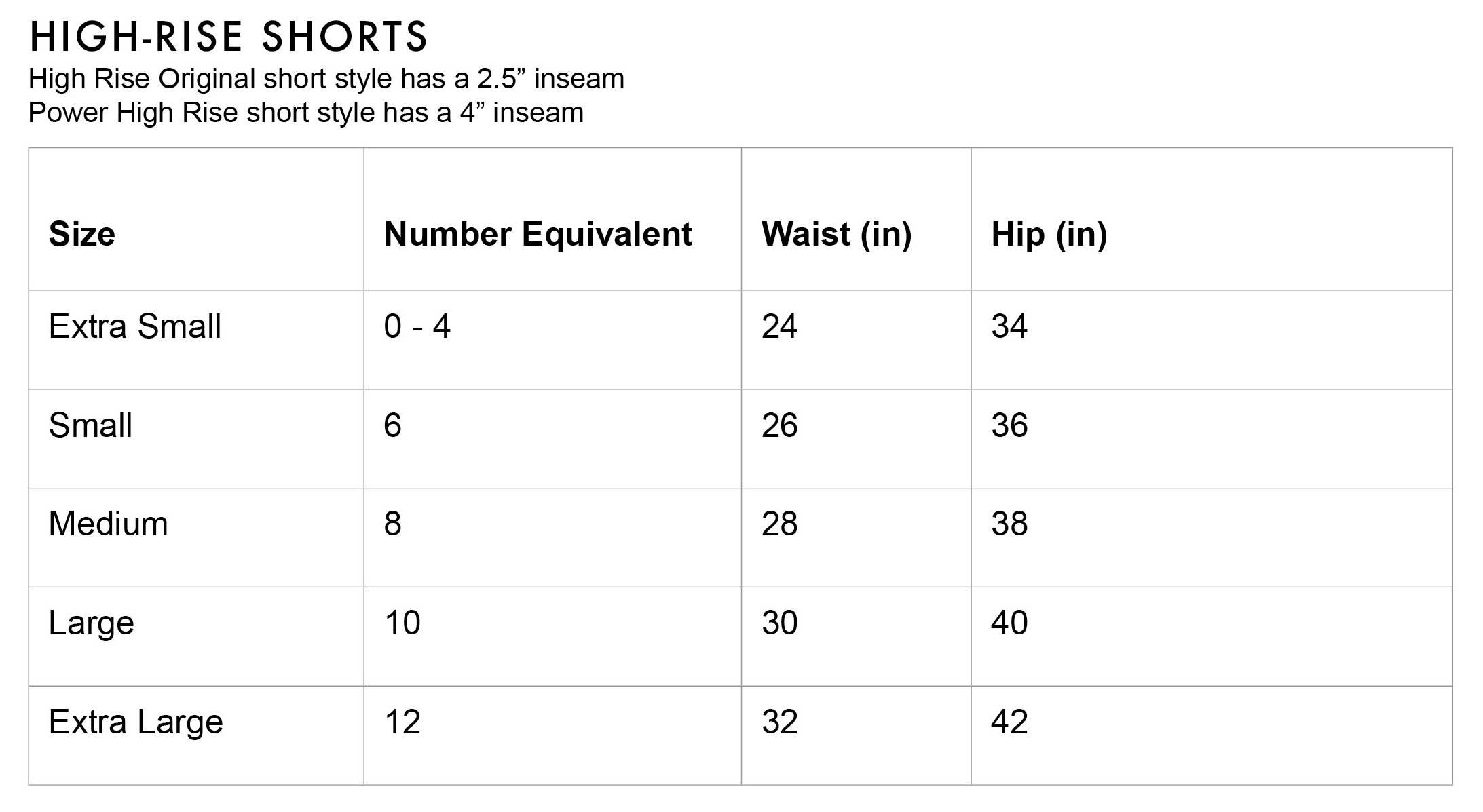 FLEO High Rise Shorts Size Chart