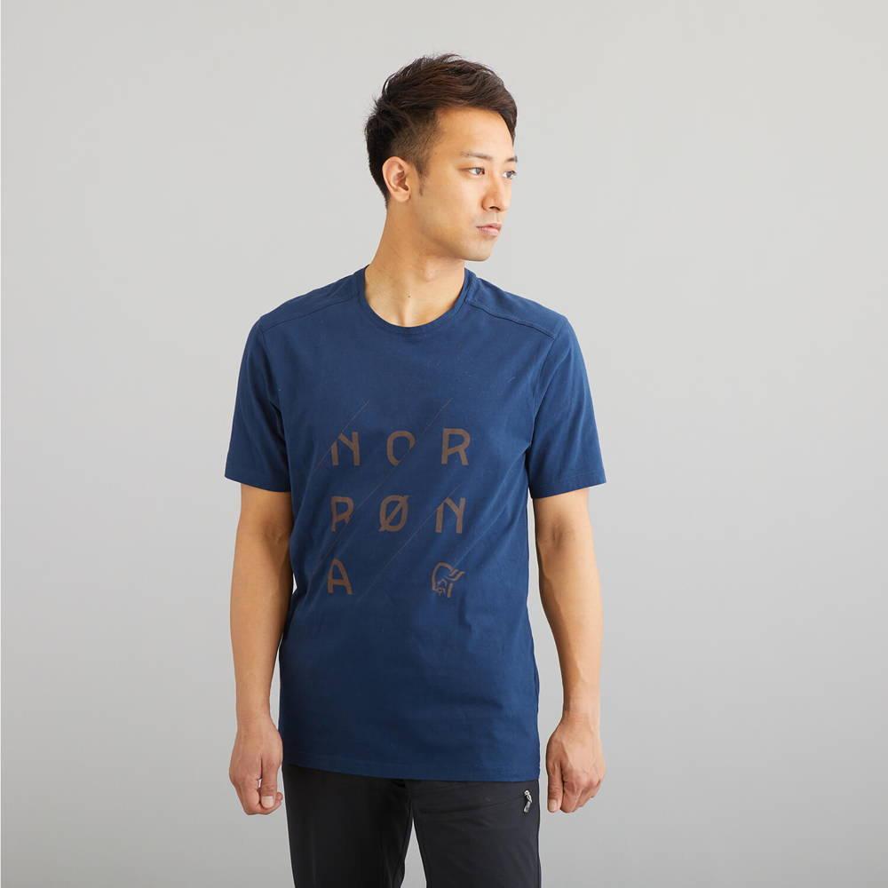 NORRONA(ノローナ)/29コットン スラントロゴTシャツ/ネイビー/MENS