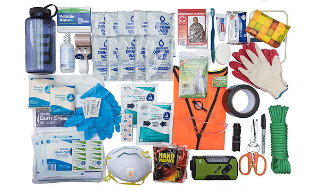 Hydration, medical gear, emergency supplies and personal care kit