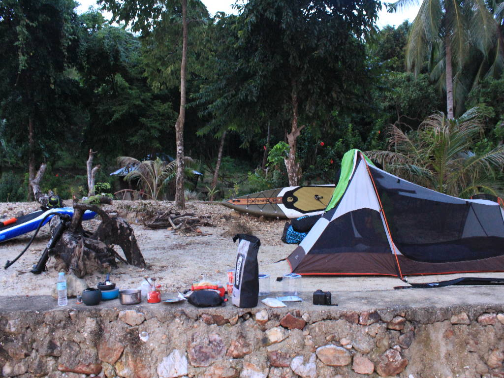 Camping with Endurance Air inflatable stand up paddle board at camp site