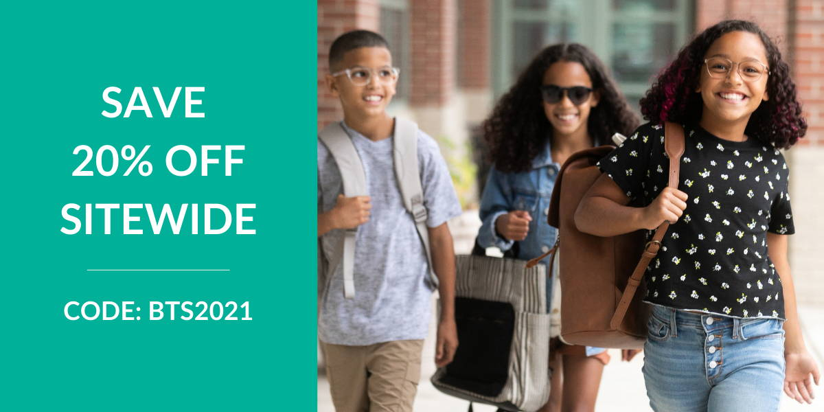 Save 20% off kids glasses and teen glasses with code BTS2021 at checkout.