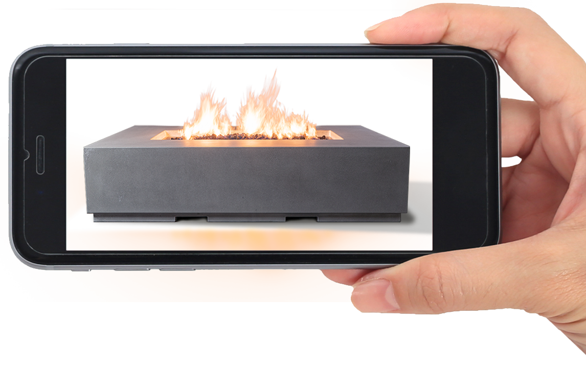 A smartphone displaying a 3D fire pit.