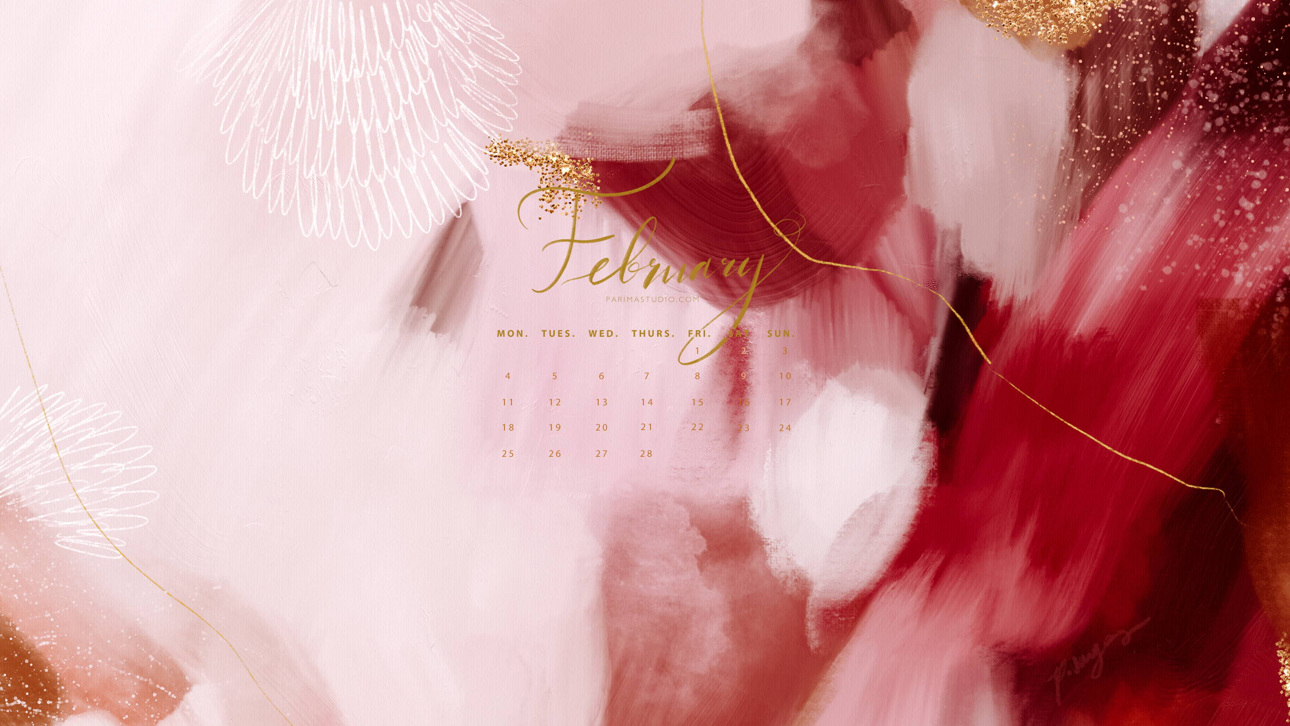 Free calendar and wallpaper downloads for your tech via Parima Studio, abstract art