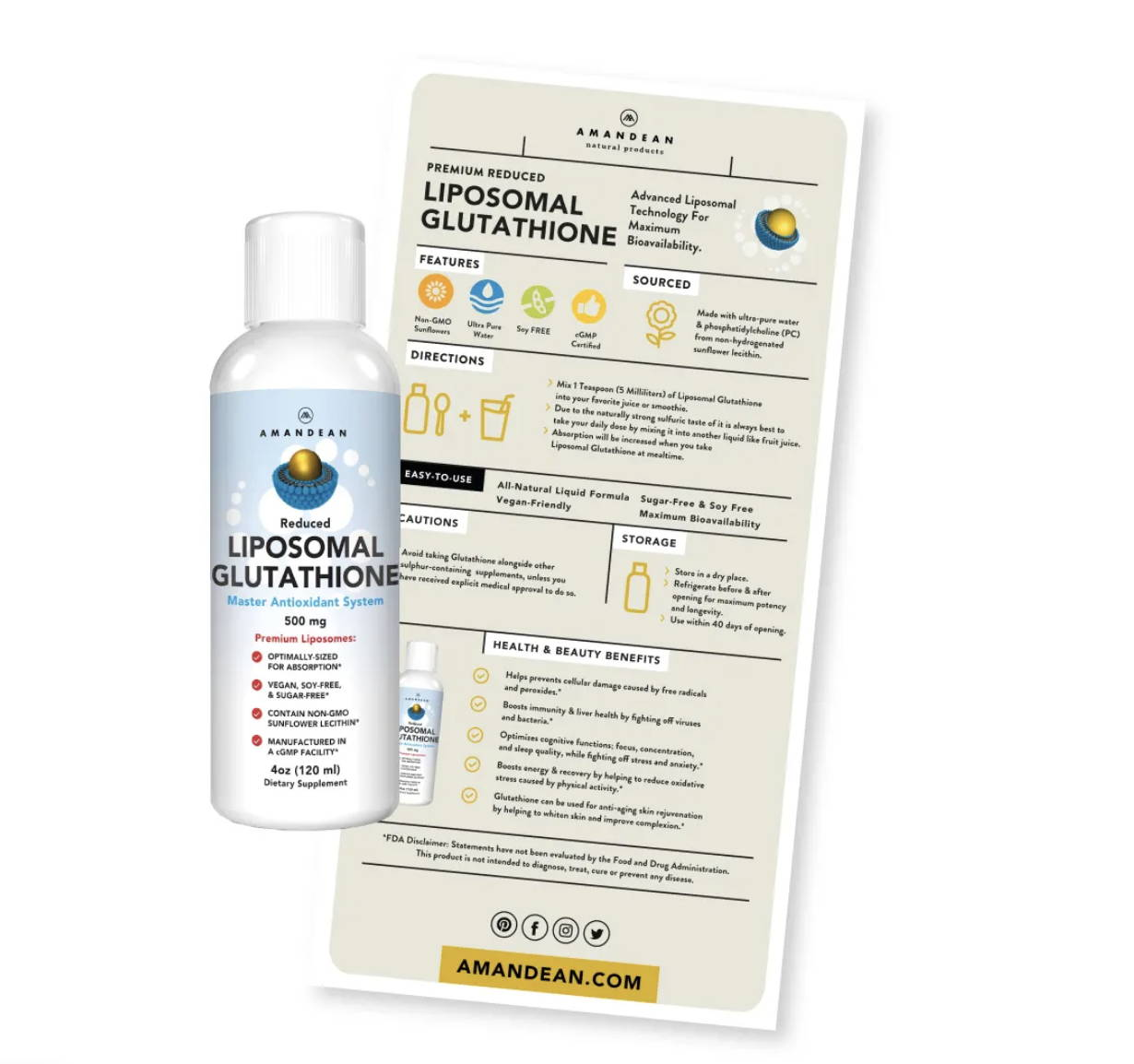 Premium Liposomal Glutathione Pro Tips Info Sheet