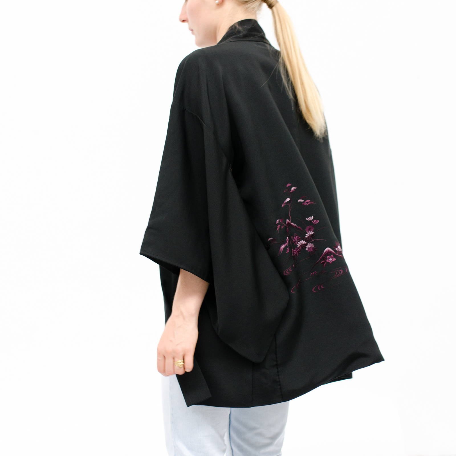 Silk Kimono - Haori - Black with Floral Embroidery