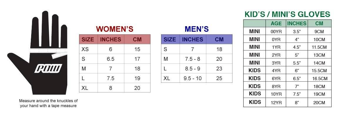 Pow Gloves Size Chart