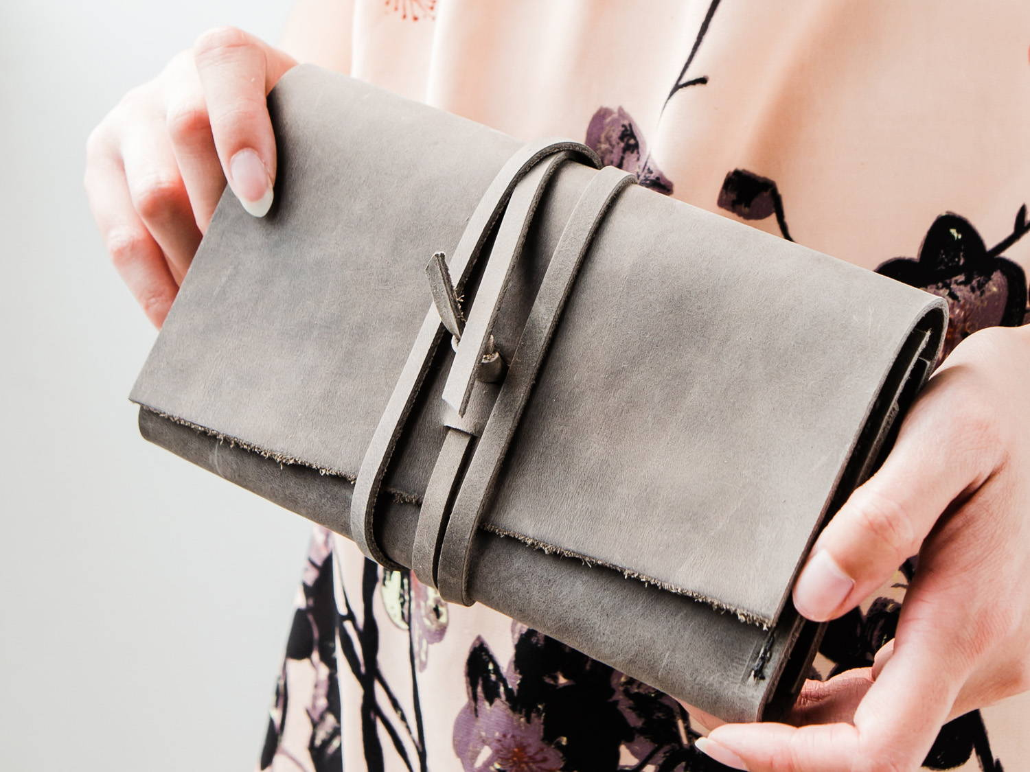 Grey Leather Wrap Wallet
