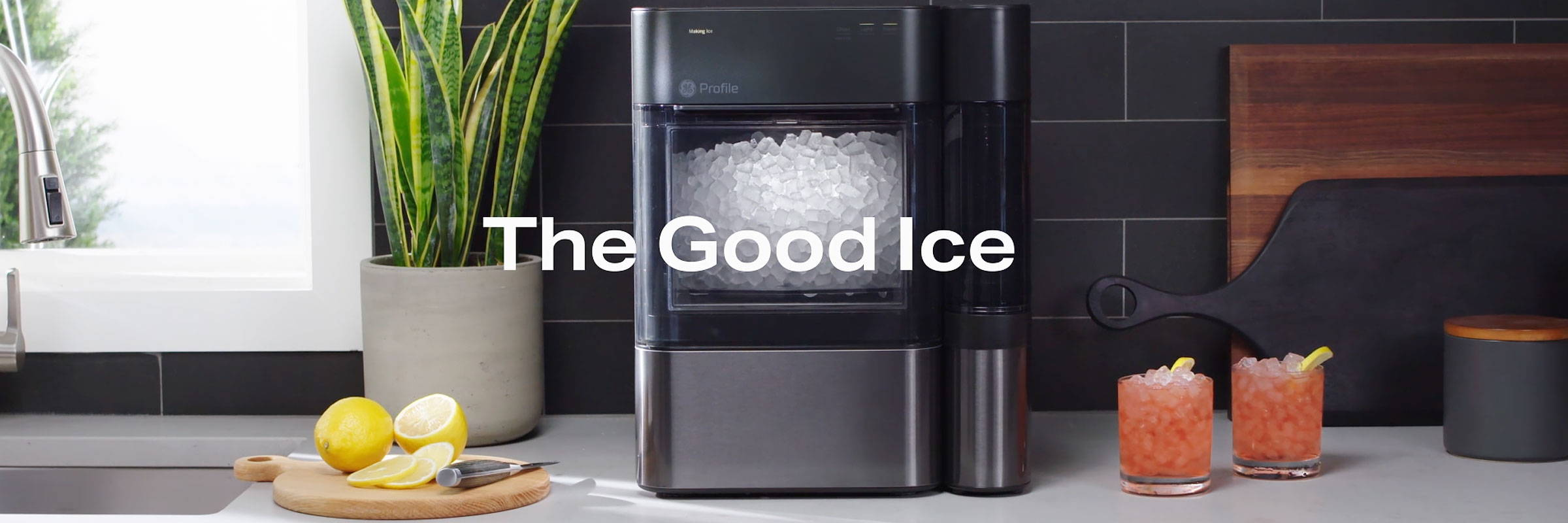 The Good Ice - NEW GE Profile Opal 2.0 Nugget Ice Maker  on counter with delicious drinks.
