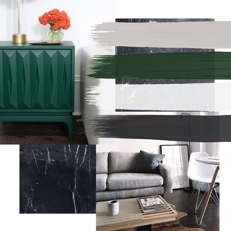 Modern interior design style moodboard