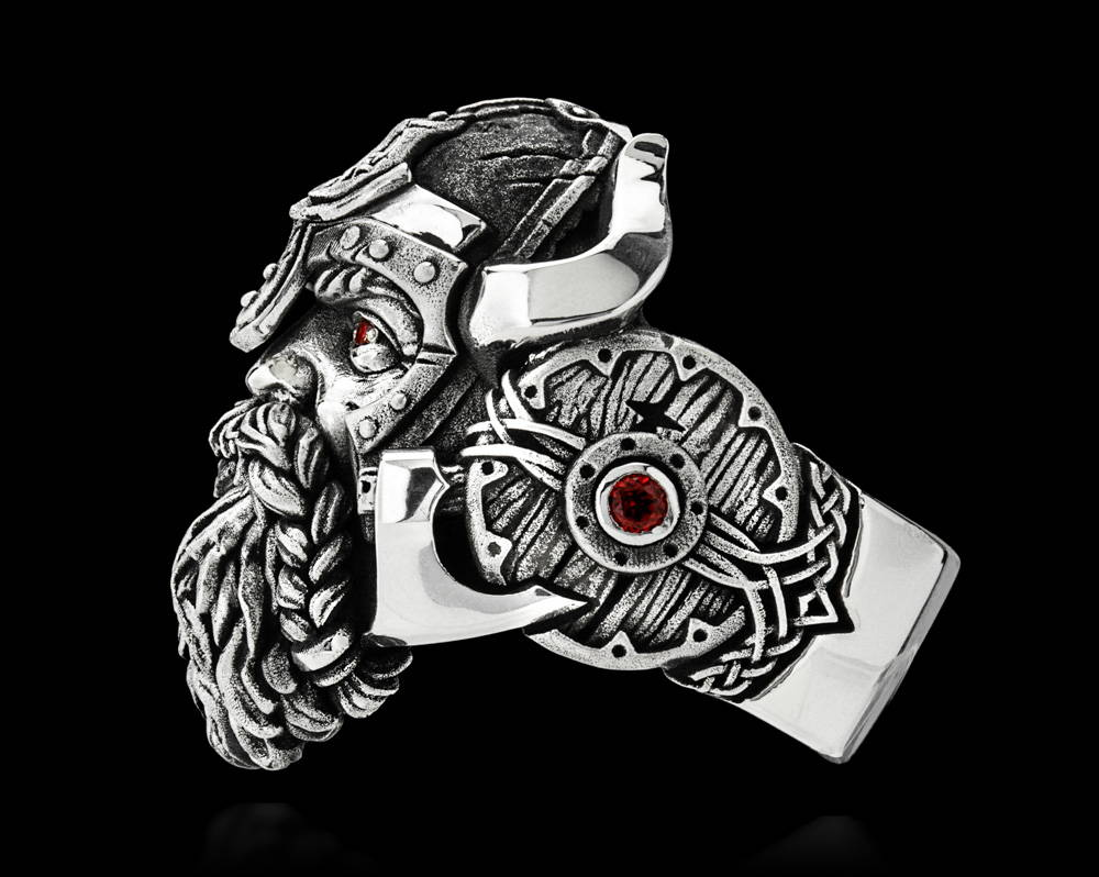 Einherjar Ring Side View Showing the Viking Bearded Axes and Battle Shields