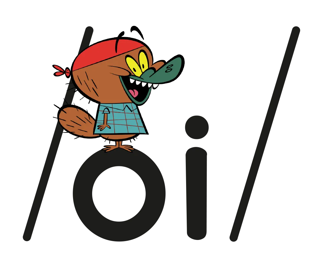 Illustrated character next to the phoneme /oi/