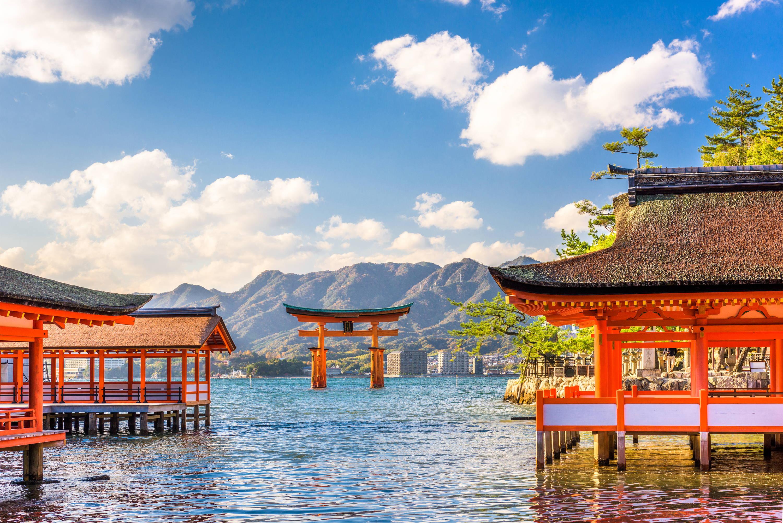 The floating gate of Itsukushima Shrine in Hiroshima, Japan