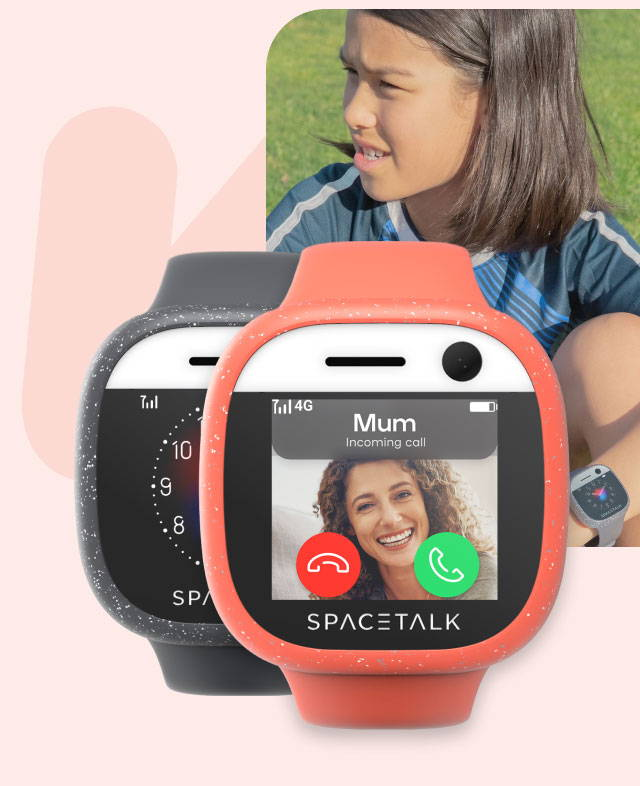 A young child in a soccer jersey wearing a Spacetalk adventurer watch. Another watch next to it shows a Spacetalk Adventurer with an incoming call from mum