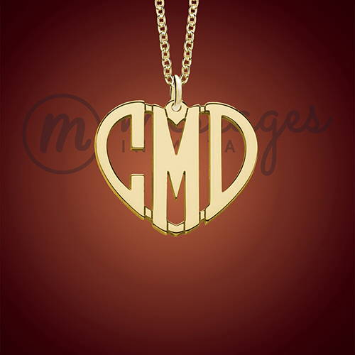 Gold Monogrammed Heart Personalized Necklace