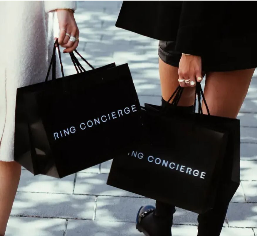 Ring Concierge shopping bags and rings.