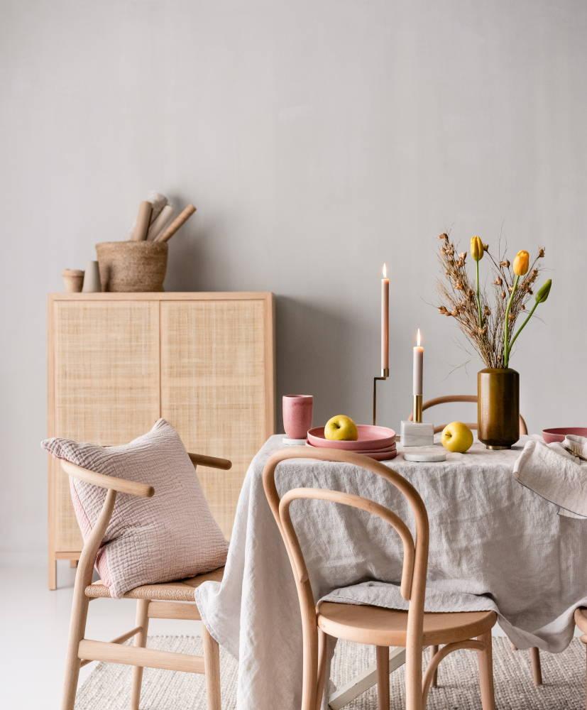 Dining table with Malhou stoneware crockery, Dapoli vase and Betwa candle holder