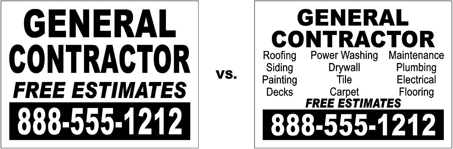 General Contractor Yard Signs - A.G.E. Graphics