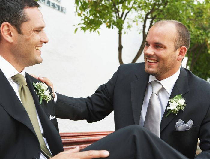 Groom and best man at wedding