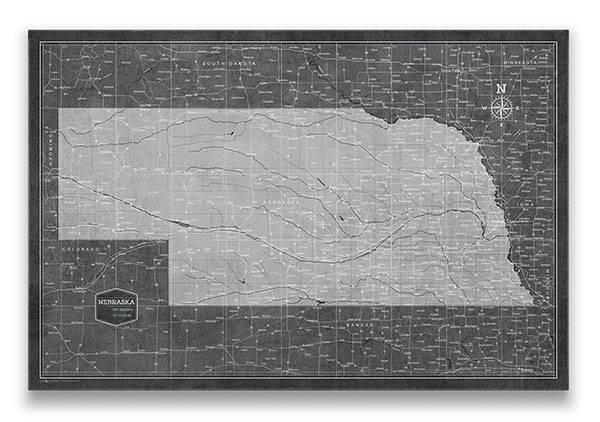 Nebraska Push pin travel map modern slate