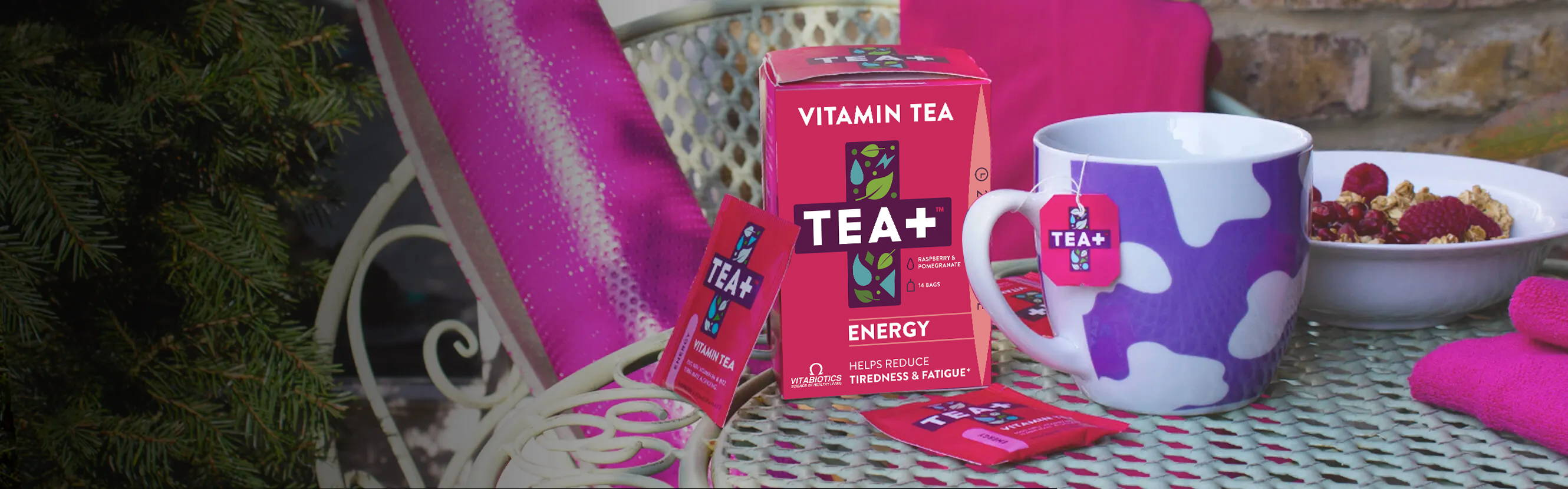 From studying to the school run, TEA+ Energy Vitamin Tea can bolster your daily intake of energy-releasing vitamin B complex. With a blend of Yerba Mate, vitamin C, Ginseng, vitamin B6 and B12, it's your daily boost in a cup.