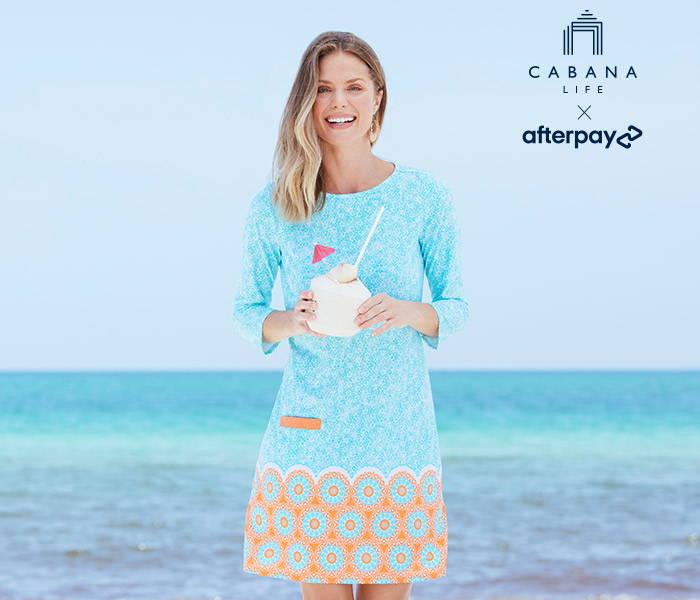 Woman wearing Aqua Citrus Cabana Shift Dress with Afterpay