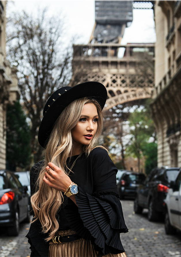 fashionable girl in front of Eiffle Tower