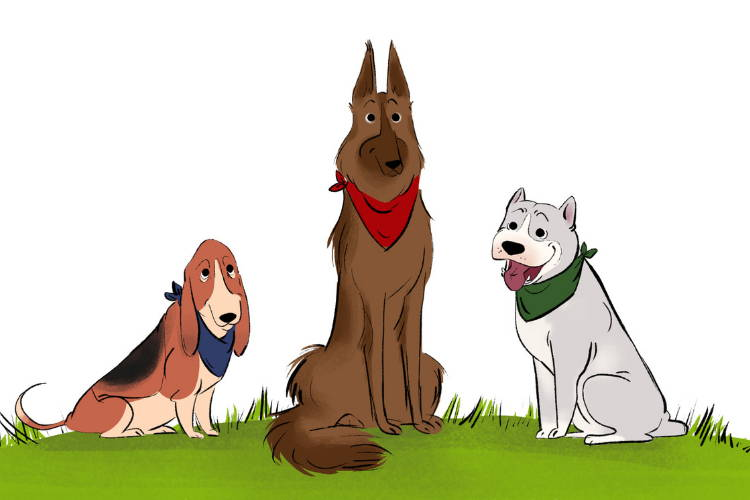 An illustration of three dogs sitting together, all wearing dog bandanas.