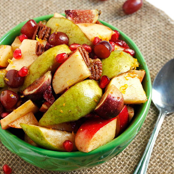 High Quality Organics Express fruit salad with pear and apple, and pecans