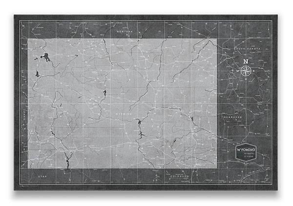 Wyoming Push pin travel map modern slate