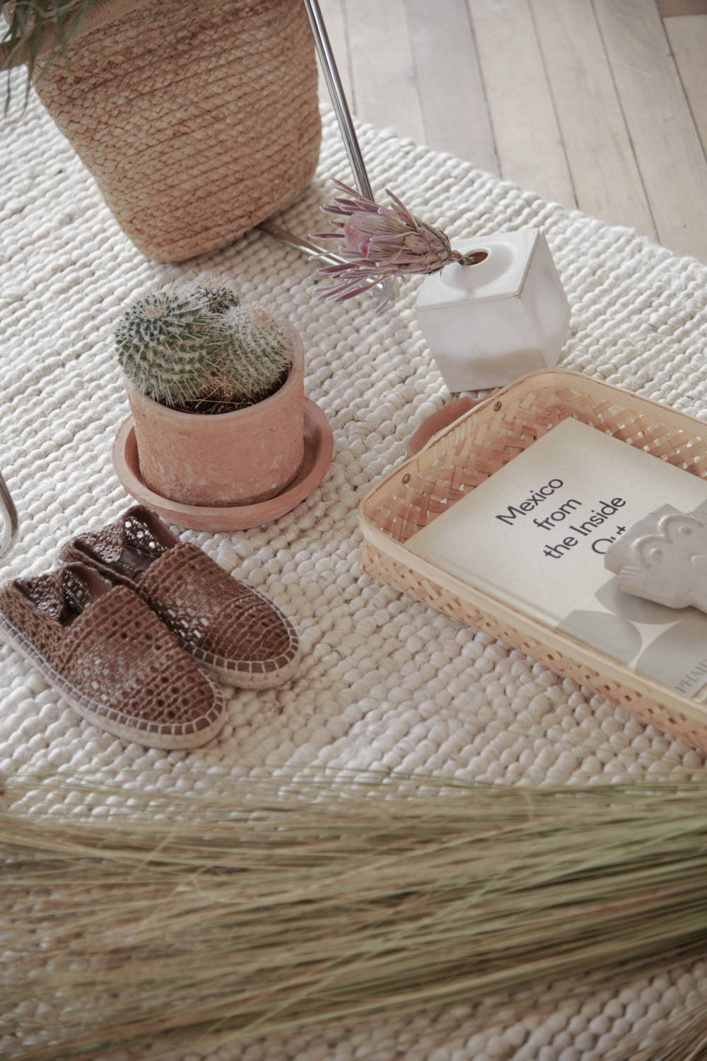 reeds with cactus, woven slippers and woven tray