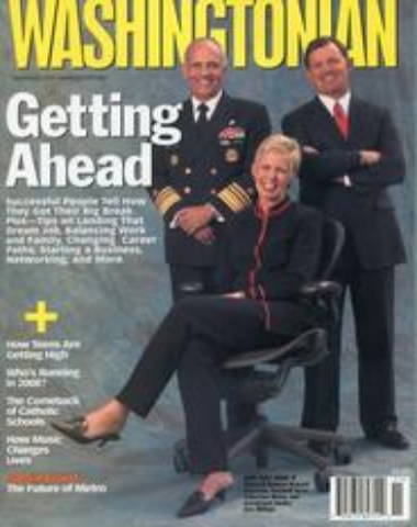 Washingtonian magazine cover with three business people, two men standing and one woman sitting