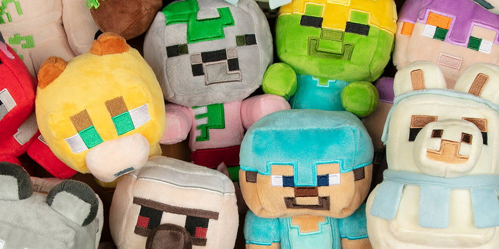 A collection of Minecraft plush toys