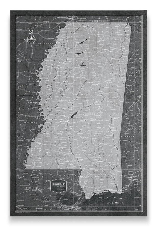 Mississippi Push pin travel map modern slate