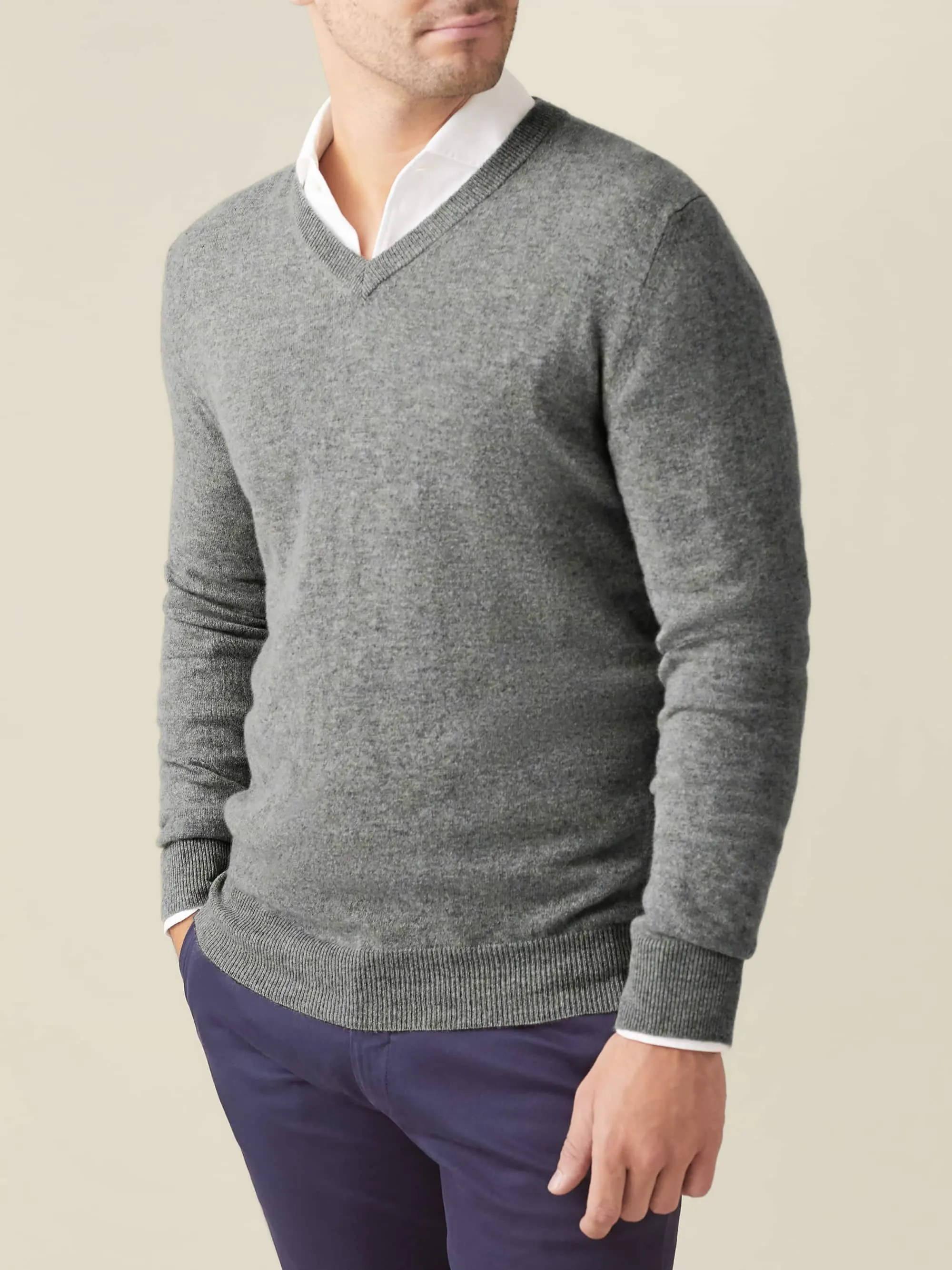 Grey Cashmere V Neck Luca Faloni