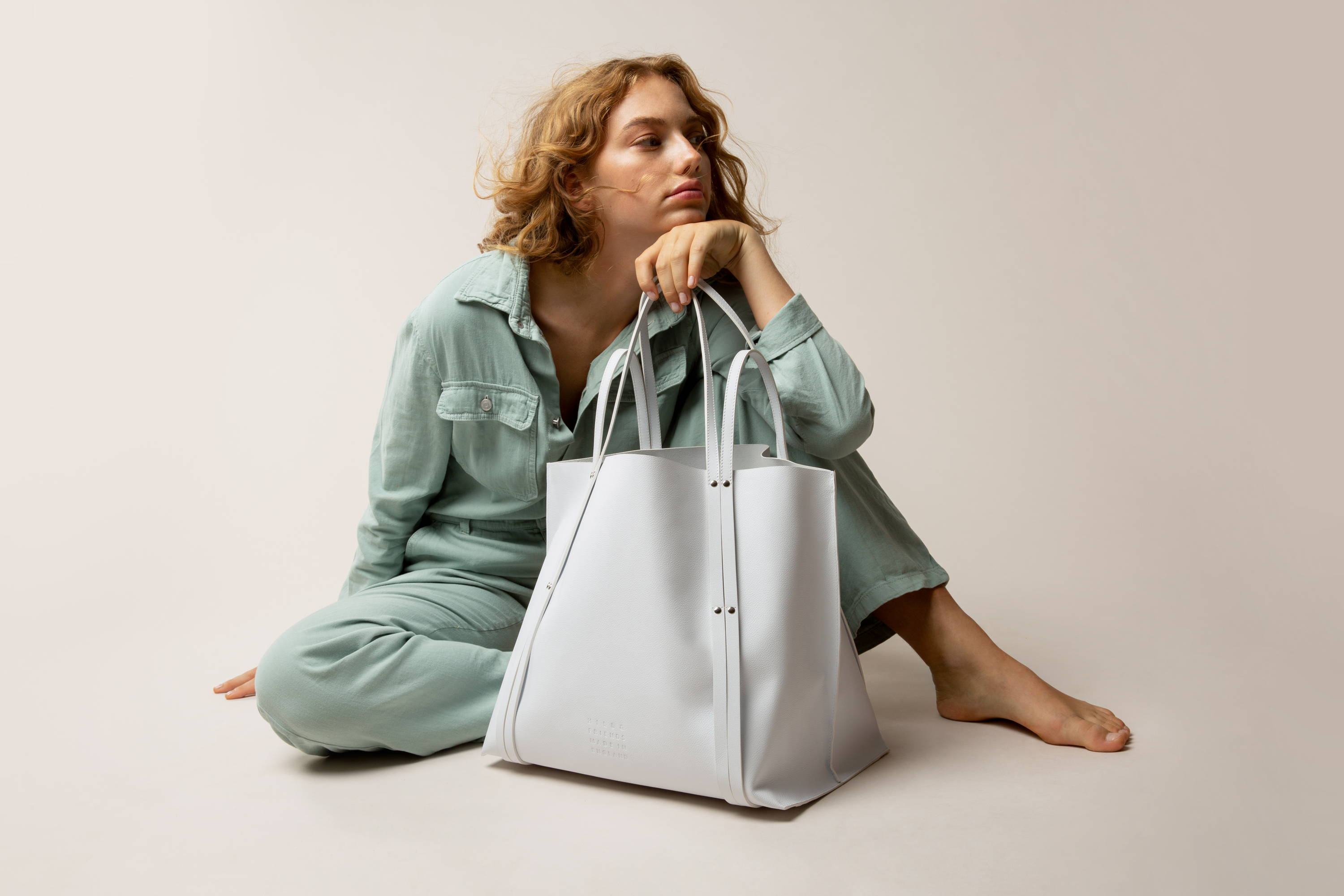 Hill and Friends White Leather Hepworth Tote Bag